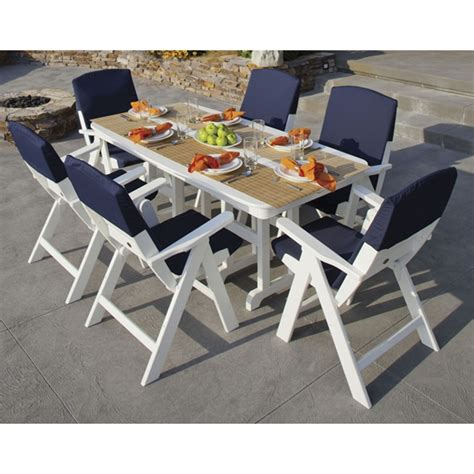 nautical outdoor furniture polywood 174 nautical 7 dining set with slipcushions pw nautical set5