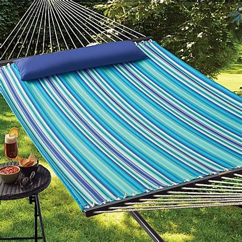 cool stripe hammock with pillow in blue bed bath beyond