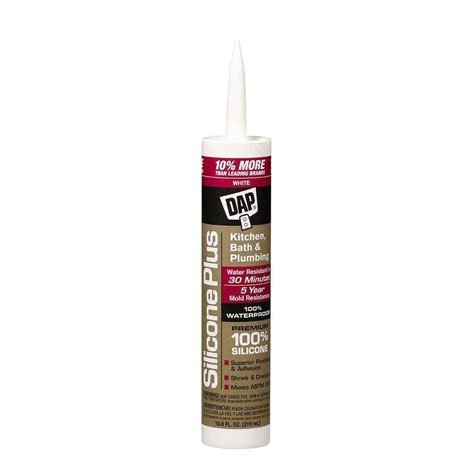 Plumbing Adhesives And Sealants by Dap Silicone Plus 10 8 Oz White Premium Kitchen Bath And