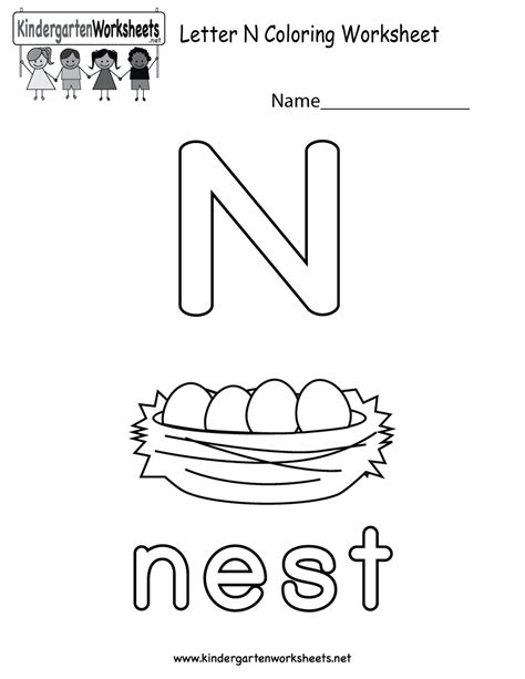 kindergarten activities letter n free printable letter n coloring worksheet for kindergarten