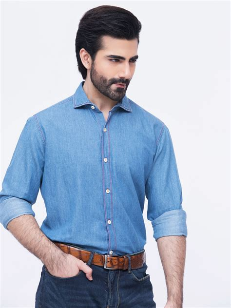 And Denim blue denim shirt with detailing brumano