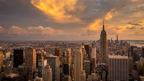 new york city sunset skyline 4k wallpapers