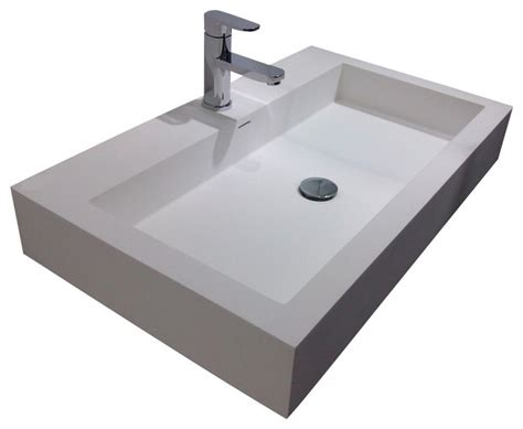 Resin Kitchen Sinks Adm White Wall Hung Resin Sink Contemporary Bathroom Sinks By Adm Bathroom Design