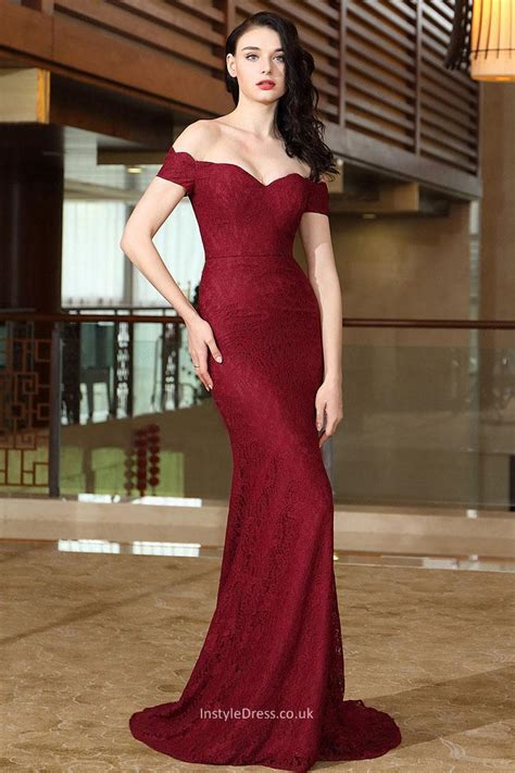 Wine Lace Off Shoulder Mermaid Sweep Train Evening Prom Dress   InstyleDress.co.uk