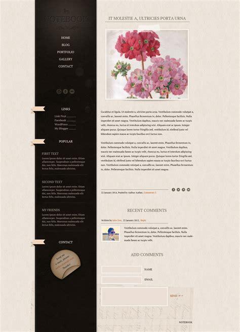 notebook blog template website templates on creative