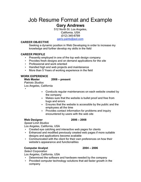 Employment Resume by Resume Sle For Employment