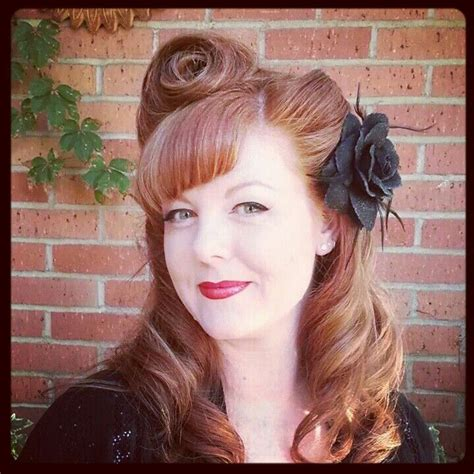 side bangs roll victory rolls with side bangs red hair hair pinterest