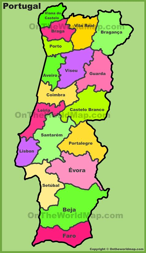 printable map portugal administrative divisions map of portugal inside map of