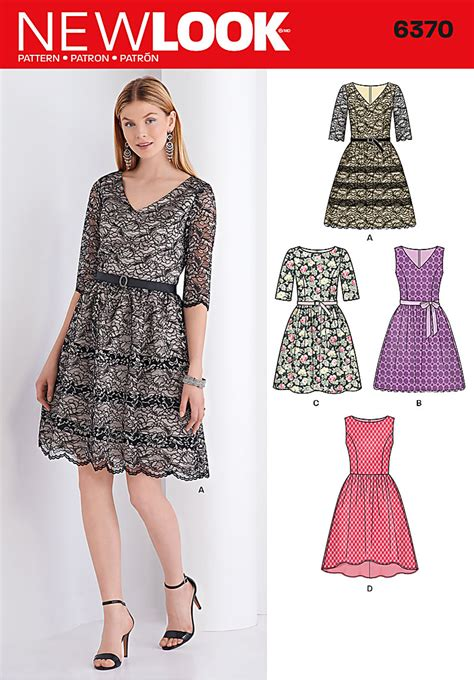 dress pattern of 2015 new look 6370 misses dress with bodice variations