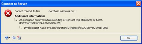 invalid name pattern sql exception sqlcoffee cannot connect to sql azure