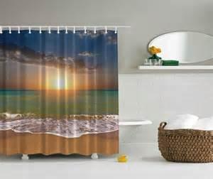 3d digital printed sunset beach bathroom shower curtain 69 quot x 70