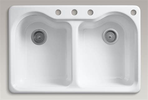 Four Hole Kitchen Faucet by Kohler K 5818 4 0 Hartland Self Rimming Kitchen Sink With