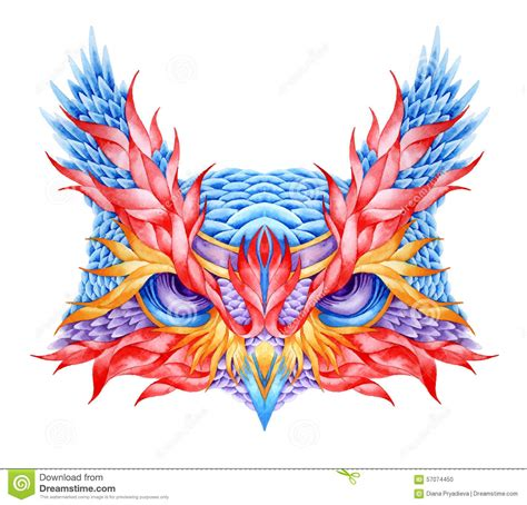 psychedelic owl head tattoo stock vector image 57074450