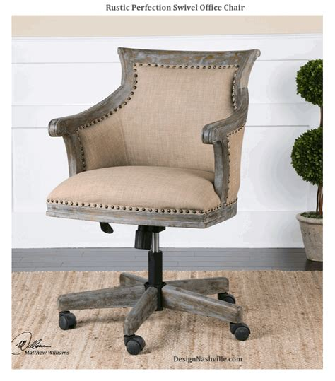 Rustic Desk Chair by Rustic Perfection Swivel Office Chair Beige Linen