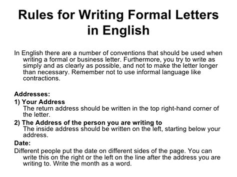 business letter writing conventions uk writing a formal letter