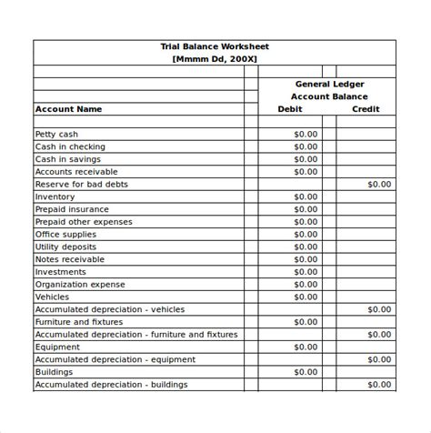 trial balance template balance sheet templates 18 free word excel pdf