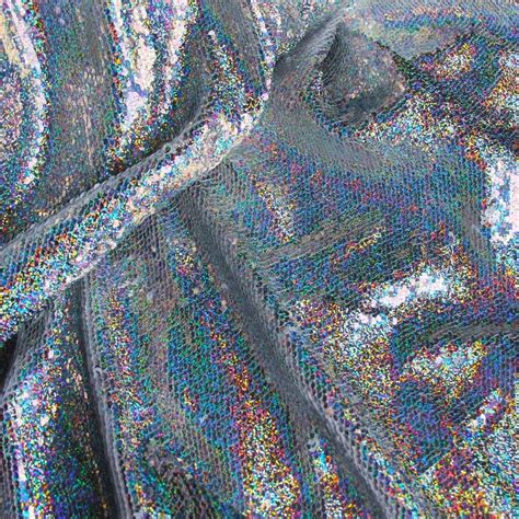silver holographic iridescent fabric