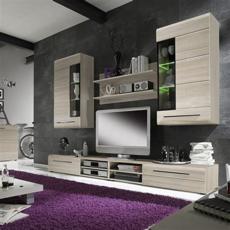 oak living room furniture sets madsen living room set 1 in sonoma oak with led lighting