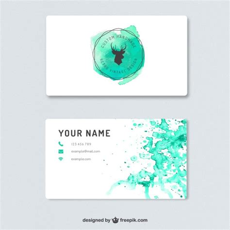 watercolor business card template free business card with watercolor splashes vector free