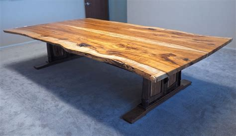 Live Edge Boardroom Table Custom Handmade Live Edge Conference Table In Pecan Walnut