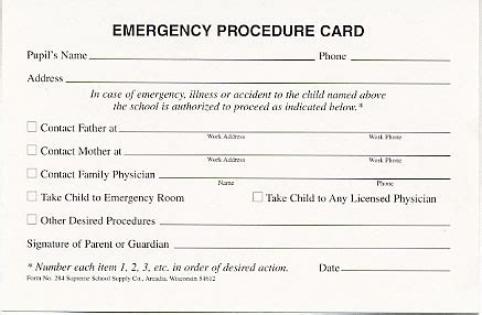 school emergency contact card template emergency procedure card 284 supreme school supply