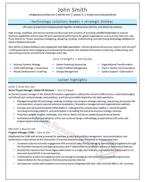 senior project manager resume project management cv example report