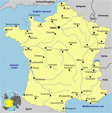 france map, map of france