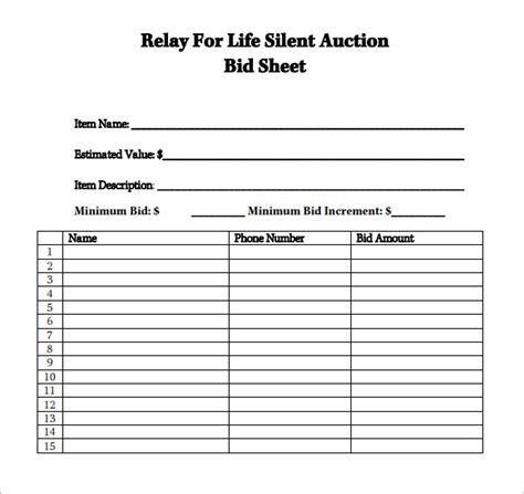 silent auction templates sle silent auction bid sheet 6 exle format