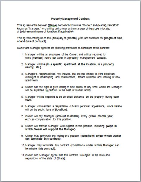 construction project management agreement template contracts contract templates