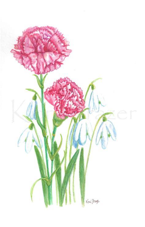6 month tattoo carnation and snowdrop january birthday flower original