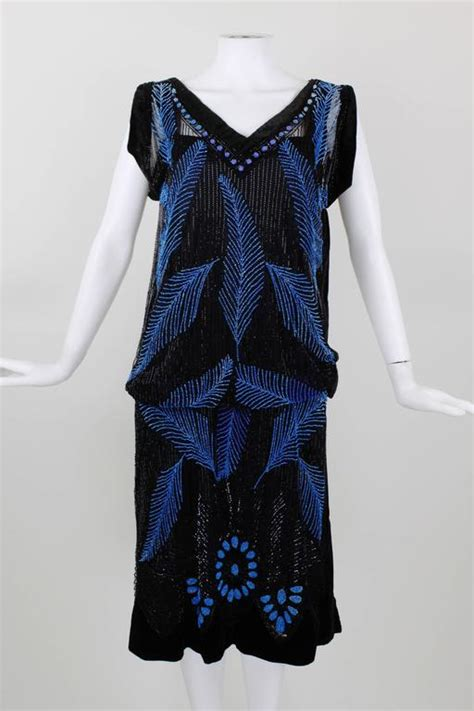 beaded feather dress 1920s black velvet and blue beaded feather evening dress