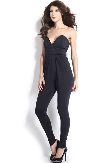 44194 Black Retro Pattern S M L Jumpsuit summer bodycon sleeveless v neck playsuit