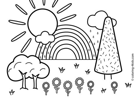 simple landscape coloring page nature coloring page for kids with rainbow printable free