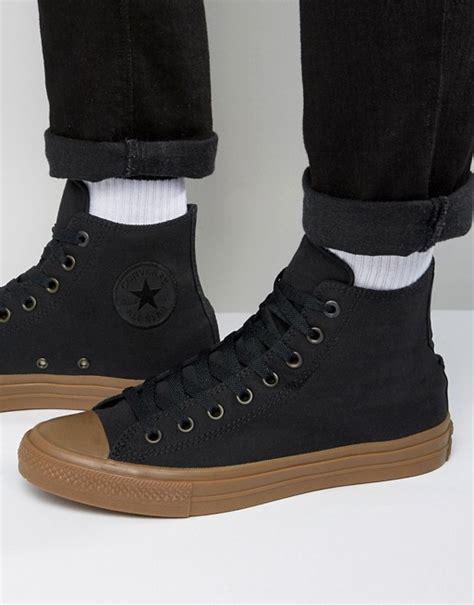converse converse chuck all ii hi plimsolls with gum sole in black 155496c