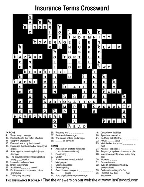 insurance terms crossword answer key