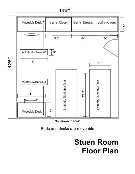 Room Floor Plan by Stuen Hall Floor Plans Department Of Residential Life