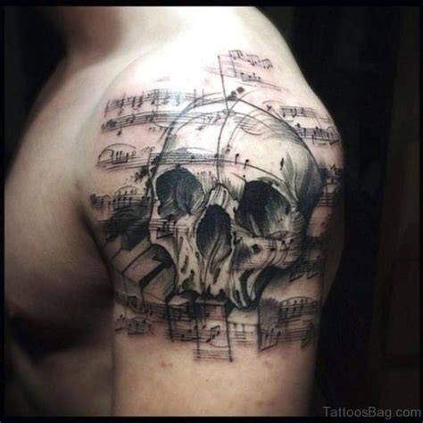skull music note tattoo designs 68 brilliant skull tattoos on shoulder