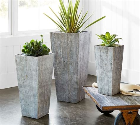 pottery barn planters reclaimed wood planter pottery barn