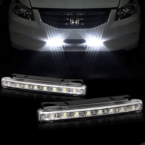 Led Bar Driving Lights 2pcs Lot White 8 Led Daytime Running Lights Drl Light Bar Parking Car Fog Lights Strobe