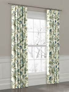 Floral Design Curtains White Green And Blue Floral Ring Top Drapery Panel Curtains New York By Loom Decor