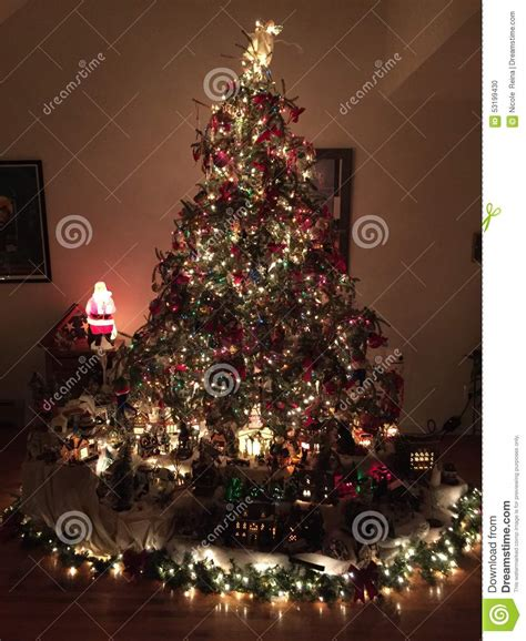 christmas tree and village stock photo image of passed