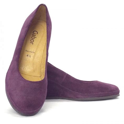 Purple Shoes by Gabor Shoes Teller Womens Wedge Shoe In Purple Suede