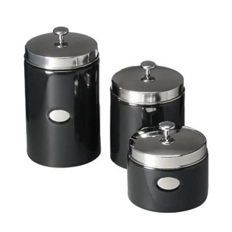 Black Ceramic Kitchen Canisters Black Contempo Canisters Set Of 3 Opens In A New Window