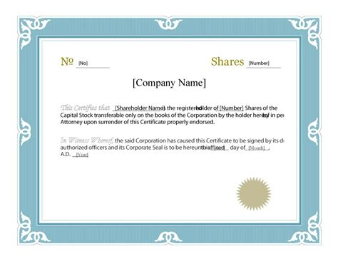 40  Free Stock Certificate Templates (Word, PDF
