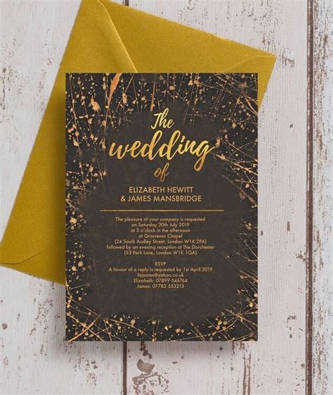 black gold abstract wedding invitation