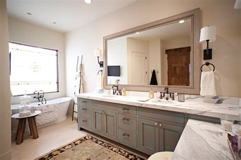 rubbed bronze pulls transitional bathroom susan gilmore photography