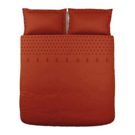 ikea red and white bedding ikea tanja brodyr king duvet cover pillowcases set orange embroidered