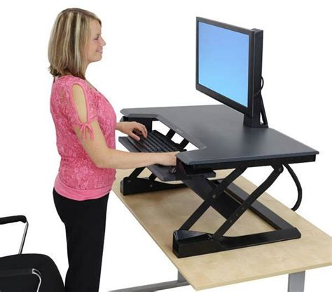 sit stand desk adapter ergotron workfit t sit stand desktop workstation