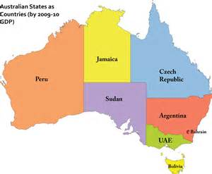 State map of australia comparison gsp gdp with title