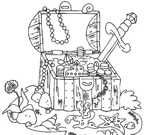 Treasure Chest Coloring Page pirate treasure chest coloring pages
